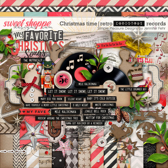 Christmas time | retro Christmas records kit: simple pleasure designs by Jennifer Fehr