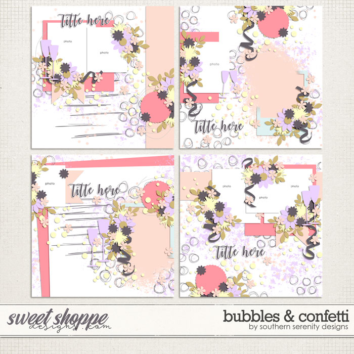 Bubbles and Confetti Layered Templates by Southern Serenity Designs