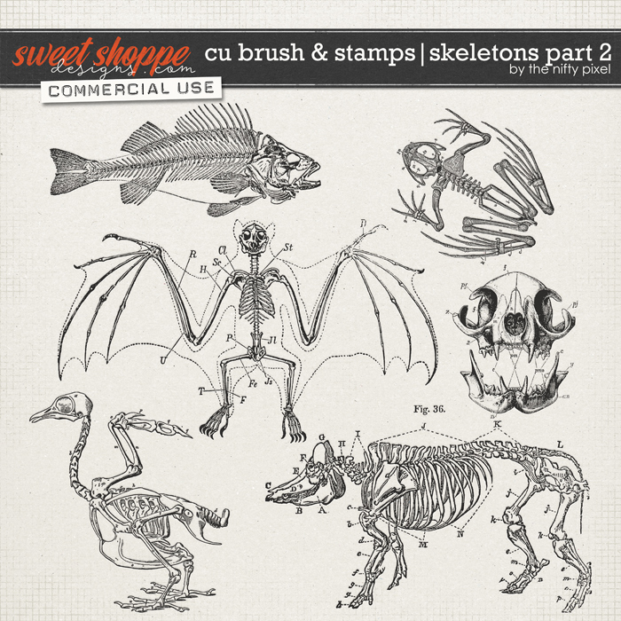 CU BRUSH & STAMPS | SKELETONS PART 2 by The Nifty Pixel