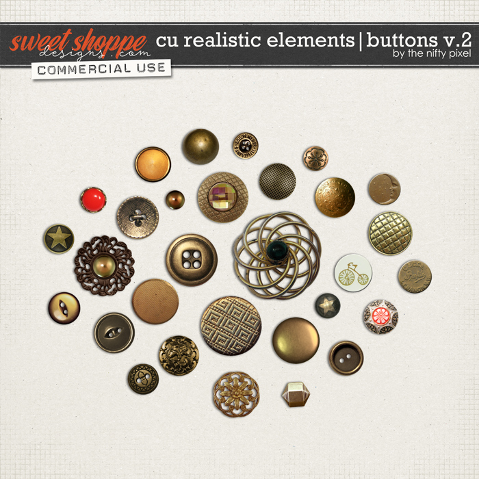 CU REALISTIC ELEMENTS | BUTTONS V.2 by The Nifty Pixel