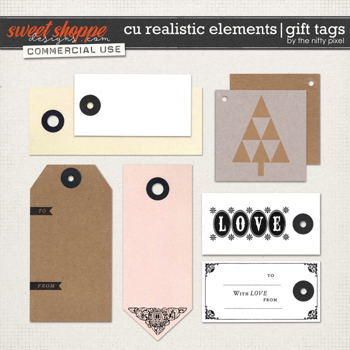 CU REALISTIC ELEMENTS | GIFT TAGS by The Nifty Pixel