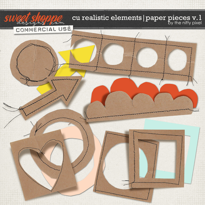 CU REALISTIC ELEMENTS | PAPER PIECES V.1 by The Nifty Pixel