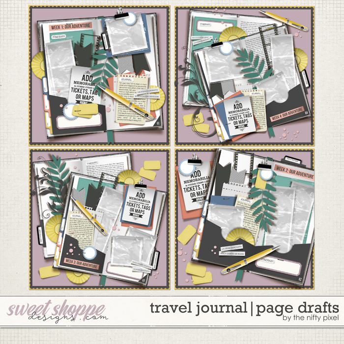 TRAVEL JOURNAL   PAGE DRAFTS by The Nifty Pixel