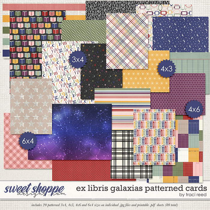 Ex Libris Galaxias Patterned Cards by Traci Reed
