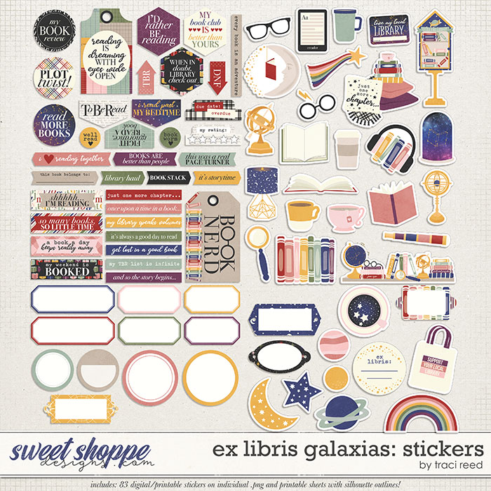 Ex Libris Galaxias Stickers by Traci Reed