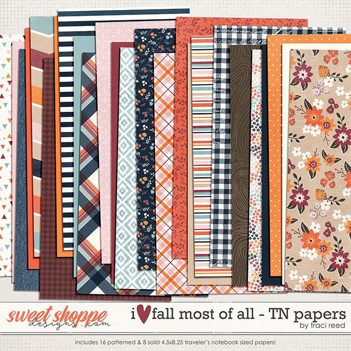 I Love Fall Most of All Traveler's Notebook Papers by Traci Reed