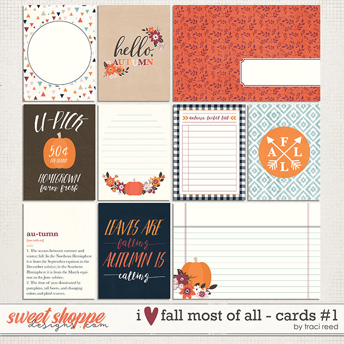 I Love Fall Most of All Journal Cards #1 by Traci Reed