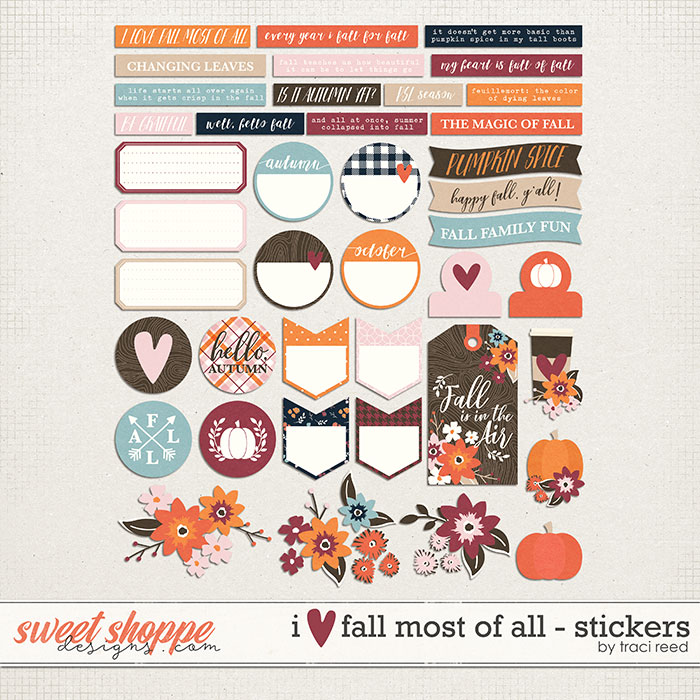 I Love Fall Most of All Stickers by Traci Reed