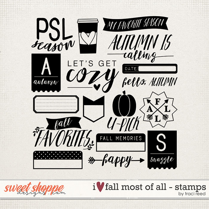 I Love Fall Most of All Digital Stamps by Traci Reed