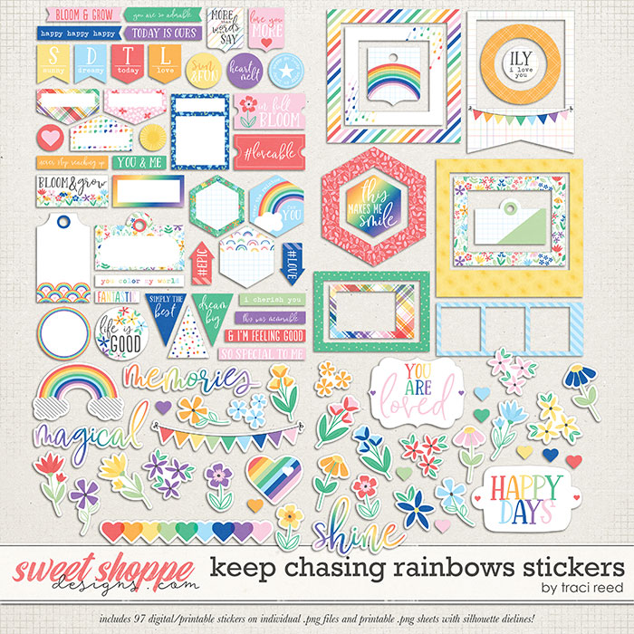 Keep Chasing Rainbows Stickers by Traci Reed