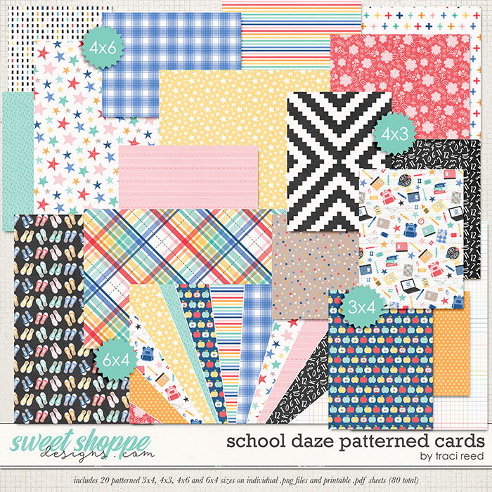 School Daze Patterned Cards by Traci Reed