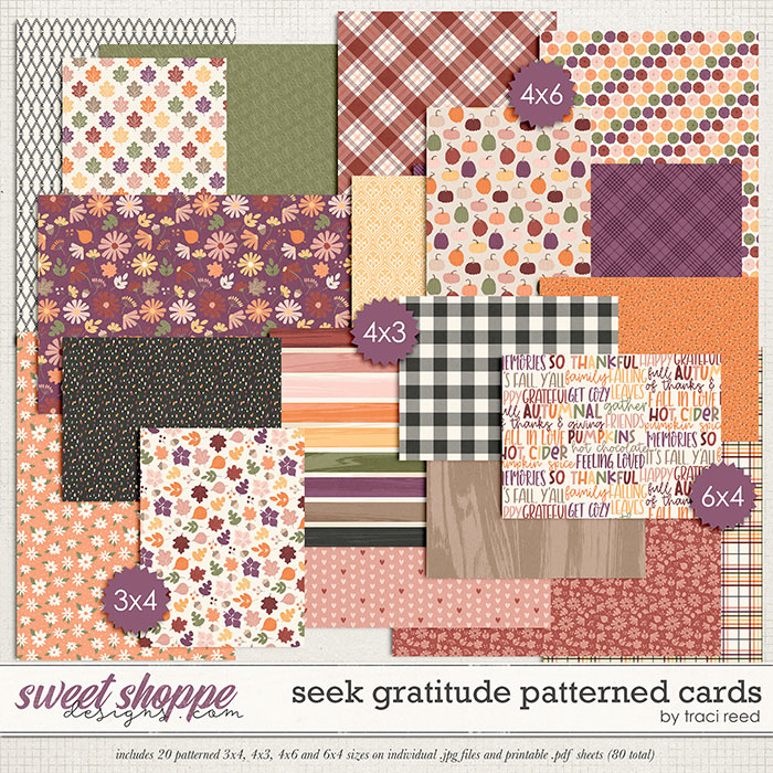 Seek Gratitude Patterned Cards by Traci Reed