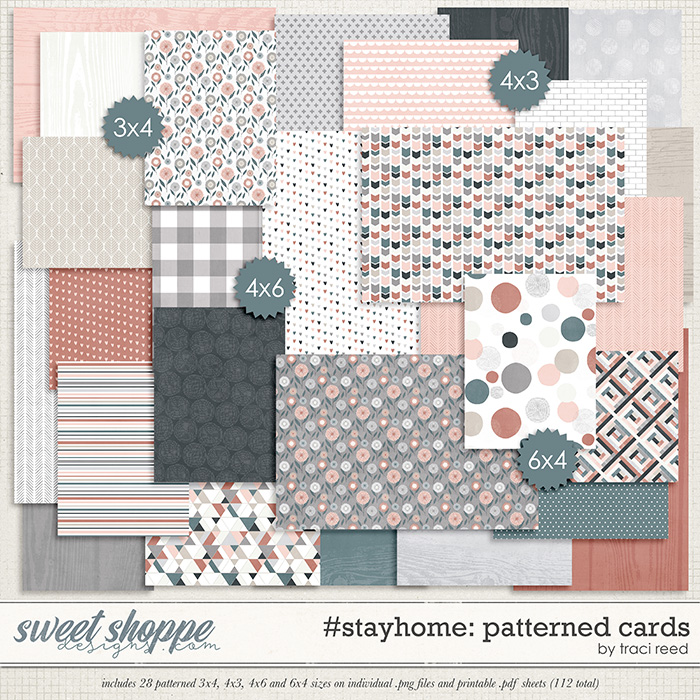 #stayhome Patterned Cards by Traci Reed
