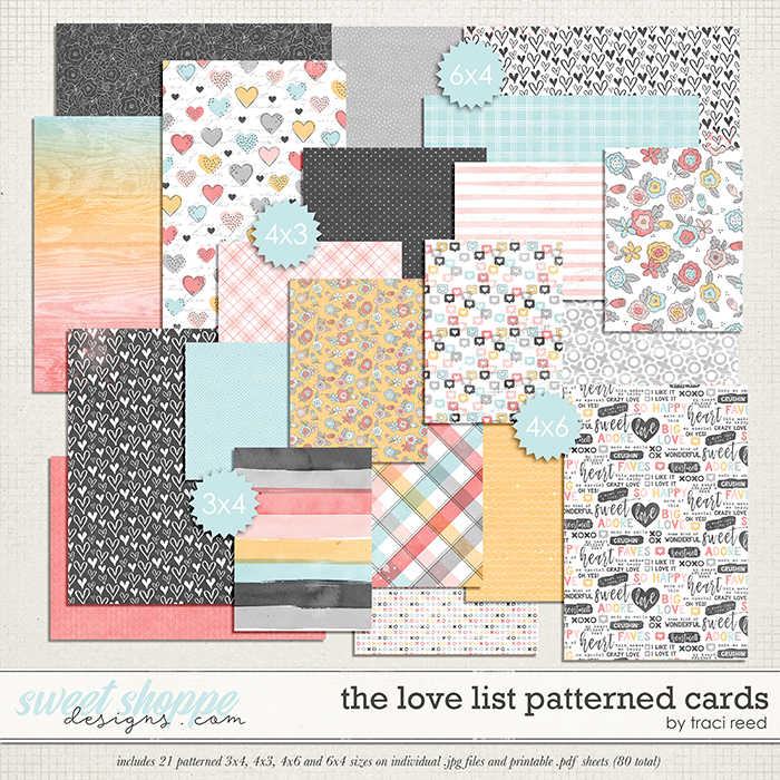 The Love List Patterned Cards by Traci Reed