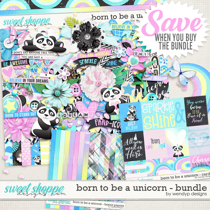 Born to be a unicorn - bundle by WendyP Designs