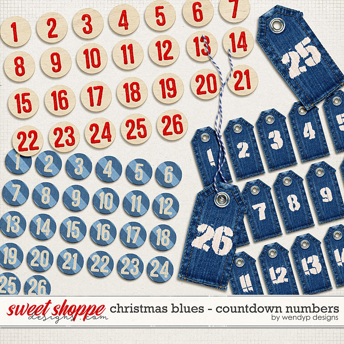Christmas Blues - countdown numbers by WendyP Designs