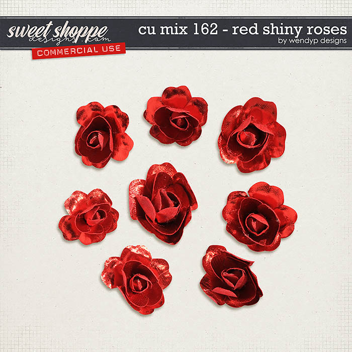 CU Mix 162 - Red shiny roses by WendyP Designs