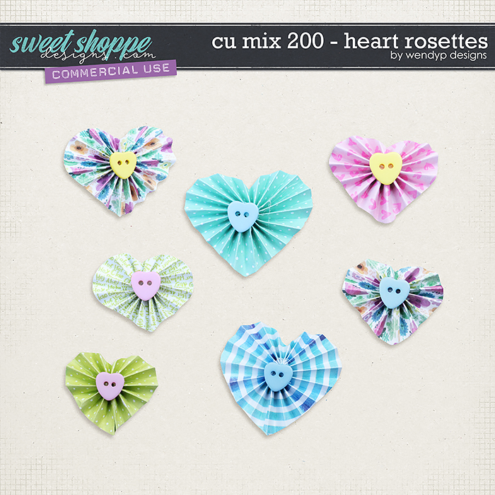 CU Mix 200 - heart rosettes by WendyP Designs