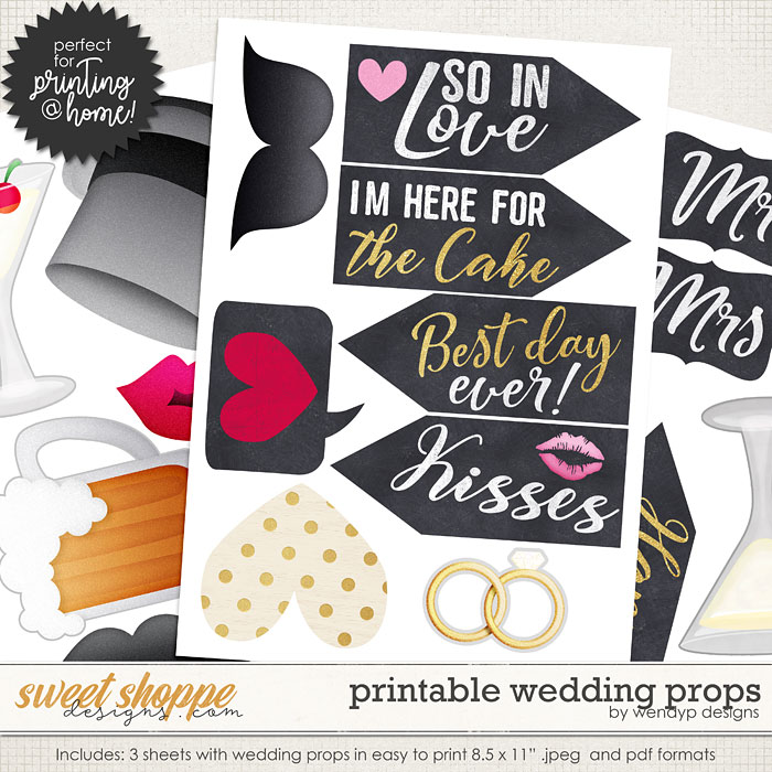 Printable Wedding props by WendyP Designs