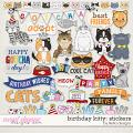 Birthday Kitty Stickers by lliella designs