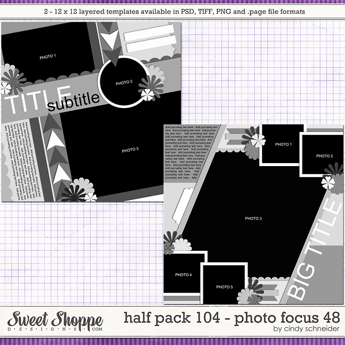 Cindy's Layered Templates - Half Pack 104: Photo Focus 48 by Cindy Schneider