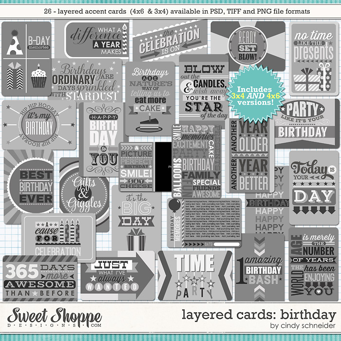 Cindy's Layered Cards: Birthday Set 1 by Cindy Schneider