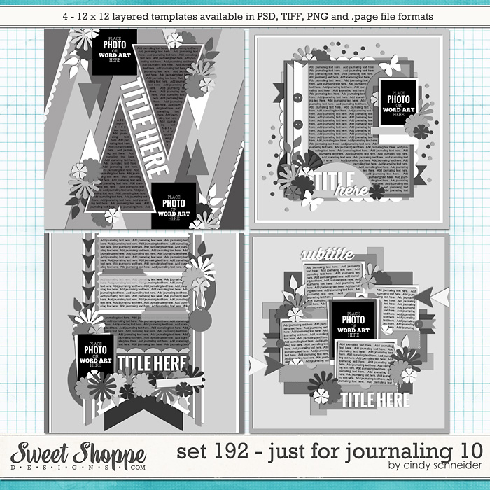 Cindy's Layered Templates - Set 192: Just for Journaling 10 by Cindy Schneider
