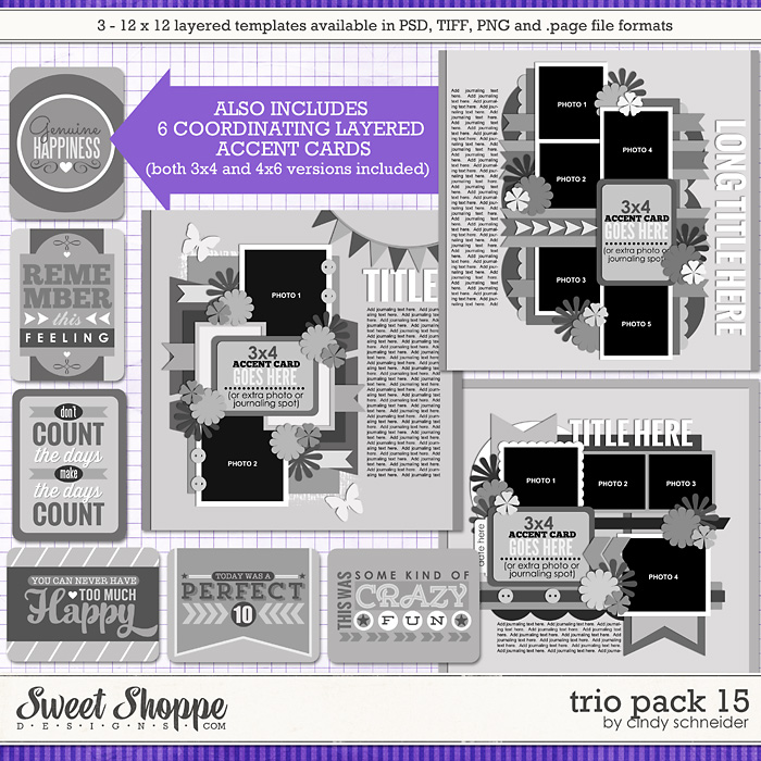 Cindy's Layered Templates - Trio Pack 15 by Cindy Schneider