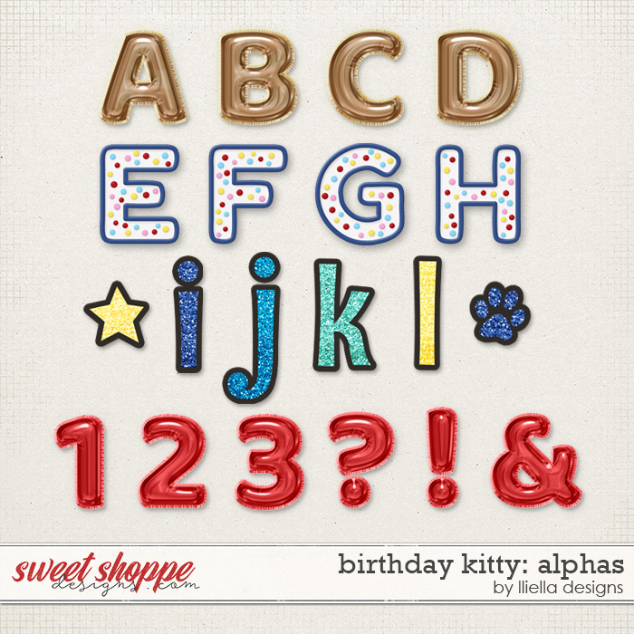 Birthday Kitty Alphas by lliella designs