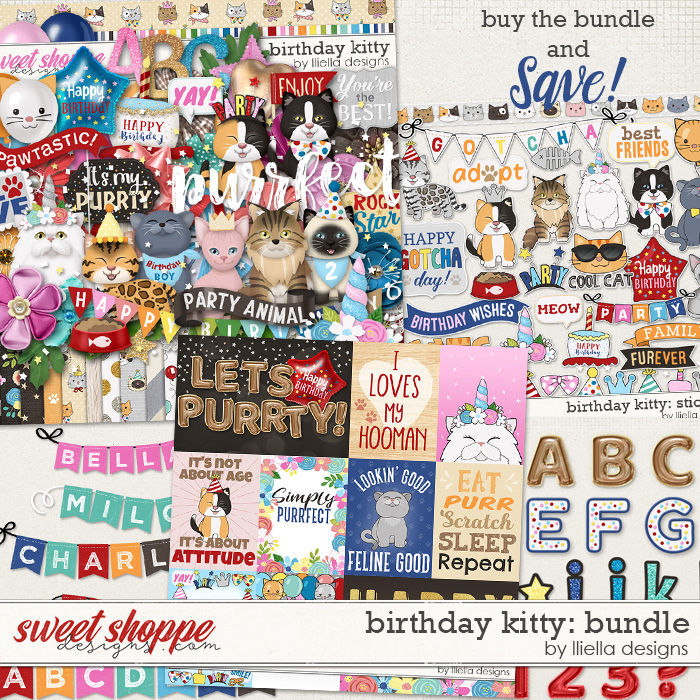 Birthday Kitty Bundle by lliella designs