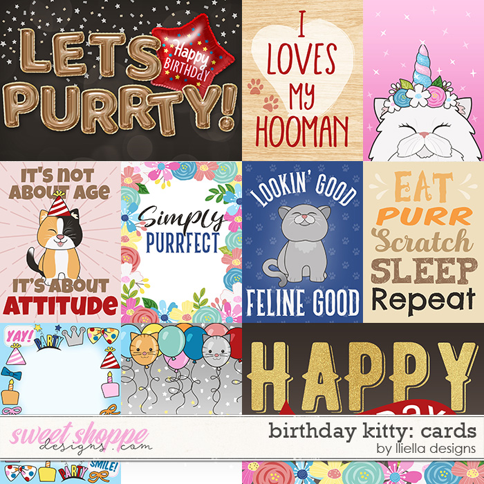 Birthday Kitty Cards by lliella designs