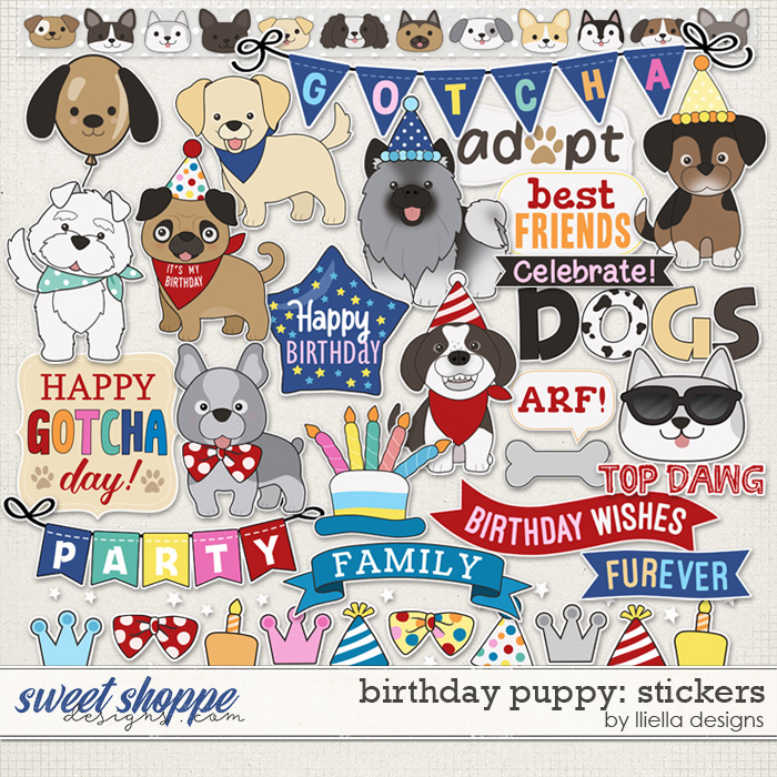 Birthday Puppy Stickers by lliella designs