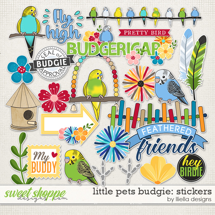 Little Pets Budgie Stckers by lliella designs