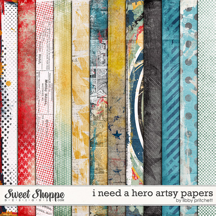 I Need A Hero Artsy Papers by Libby Pritchett