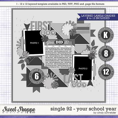 Cindy's Layered Templates - Single 92: Your School Year