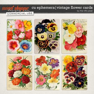 CU EPHEMERA | VINTAGE FLOWER CARDS by The Nifty Pixel