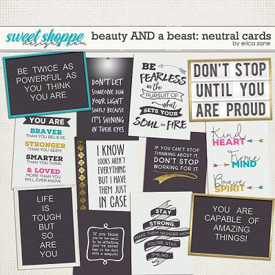 Beauty AND a Beast: Neutral Cards by Erica Zane