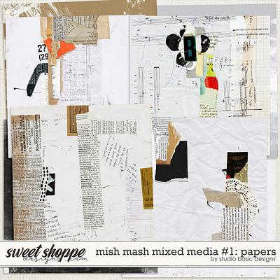 Mish Mash Mixed Media #1 Papers by Studio Basic