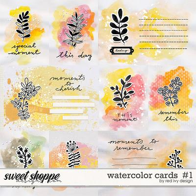 Watercolor Cards #1 by Red Ivy Design