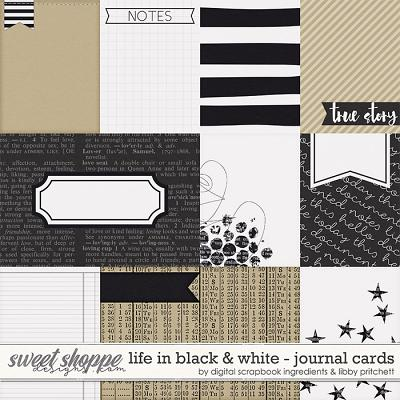 Life In Black & White | Journal Cards by Libby Pritchett & Digital Scrapbook Ingredients