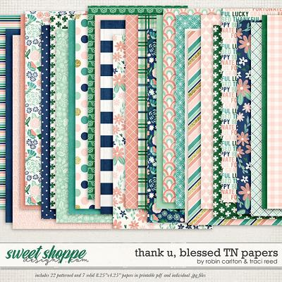 Thank U, Blessed Traveler's Notebook Papers by Robin Carlton & Traci Reed