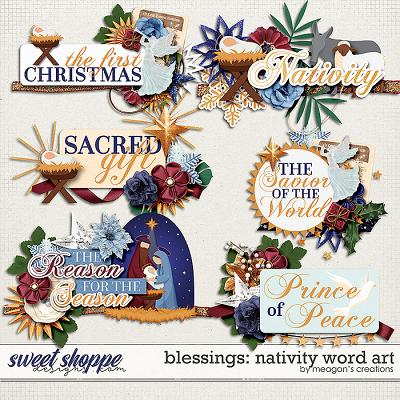 Blessings: Nativity Word Art by Meagan's Creations