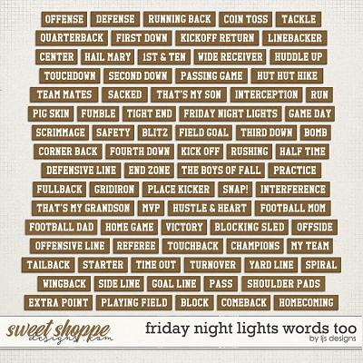 Friday Night Lights Words Too by LJS Designs