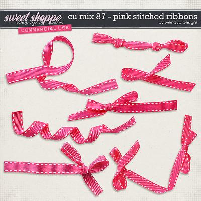 CU Mix 87 -Pink stitched ribbons by WendyP Designs