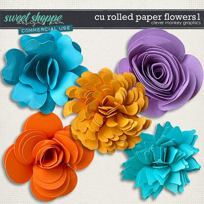 CU Rolled Paper Flowers 1 by Clever Monkey Graphics