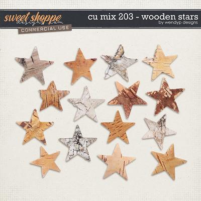 CU Mix 203 - wooden stars by WendyP Designs