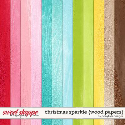 Christmas Sparkle Wood Papers by Ponytails