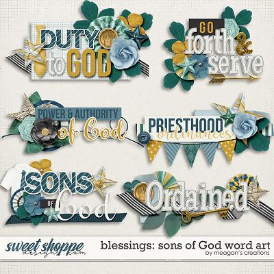 Blessings: Sons of God Word Art by Meagan's Creations