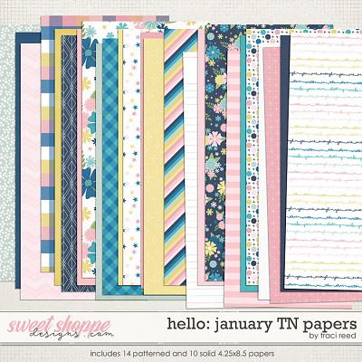 Hello: January Traveler's Notebook Papers by Traci Reed