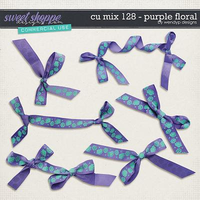 CU Mix 128 - Purple floral ribbons by WendyP Designs